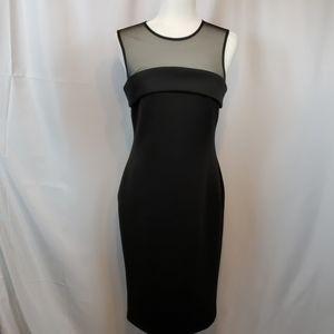 Calvin Klein black sheath dress with sheer yoke 8